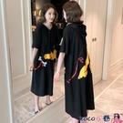 熱賣連帽洋裝 2021韓版夏裝大碼中長款連帽T恤裙卡通印花寬鬆短袖連身裙女學生 coco