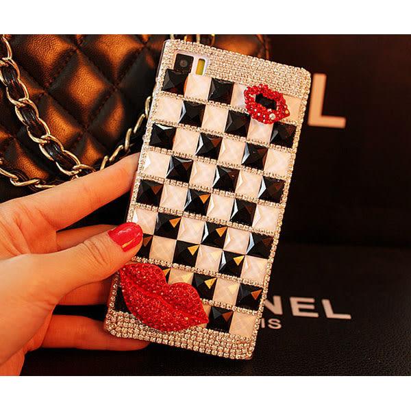 三星 S9 S8 Note9 Note8 A9 A8 A7 A6+ J2 J7 J8 J4 J6 黑白格嘴唇 水鑽殼 手機殼 手工貼鑽