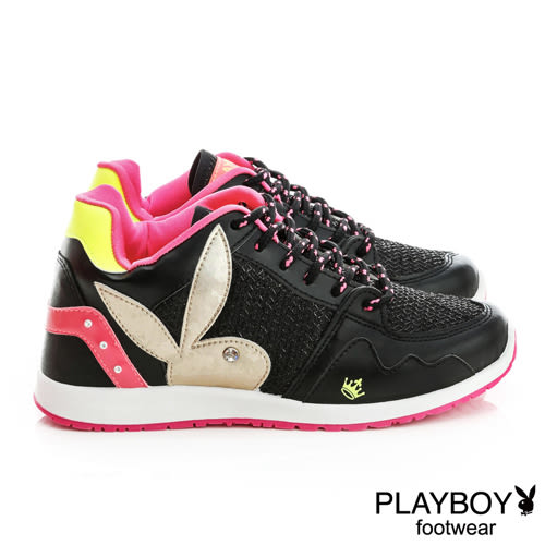 休閒鞋 PLAYBOY 網狀亮蔥拼接-黑