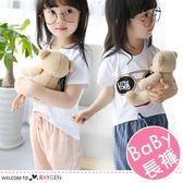 韓版兒童直條紋棉麻休閒褲 中長褲