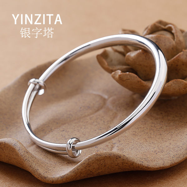 銀手鐲925純銀女光面手環情侶銀鐲子飾品