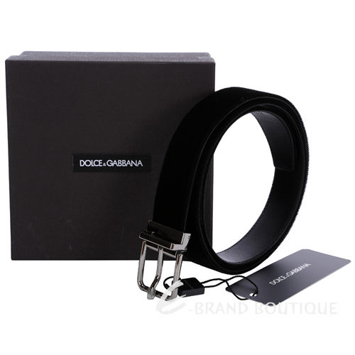DOLCE & GABBANA 金屬釦頭絨質拼接設計皮帶(黑色) 1340237-01
