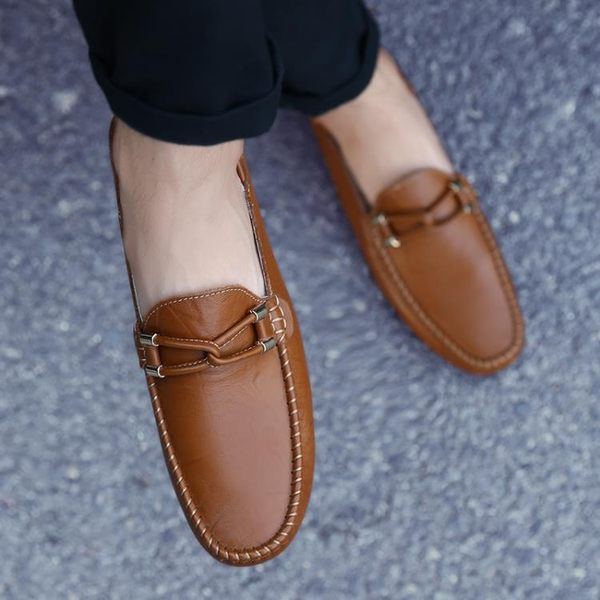 豆豆鞋男真皮軟底男鞋男士休閒皮鞋男懶人鞋一腳蹬韓版鞋子男   蓓娜衣都