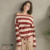 東京著衣-tokichoi-微性感條紋彈性一字領綁帶上衣(182074)