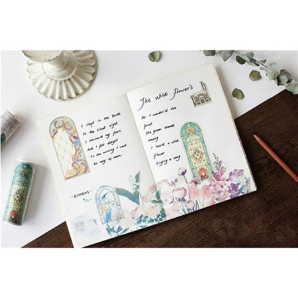 和紙膠帶│紙膠帶│窗外超寬版紙膠帶@寬10公分長5米彩繪玻璃花樣花園雜貨ZAKKA