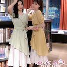 短袖洋裝 韓版V領綁帶收腰撞色不規則裙擺...