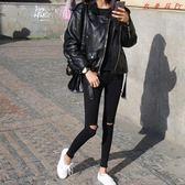 Pr 韓版高腰牛仔褲女黑色破洞緊身九分褲