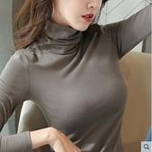打底衫 高領打底衫女長袖初秋冬上衣服最新款潮內搭純棉薄款黑色堆堆領 風尚