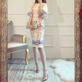 韓版旗袍名媛青花瓷印花中長款包臀洋裝女  晴光小語