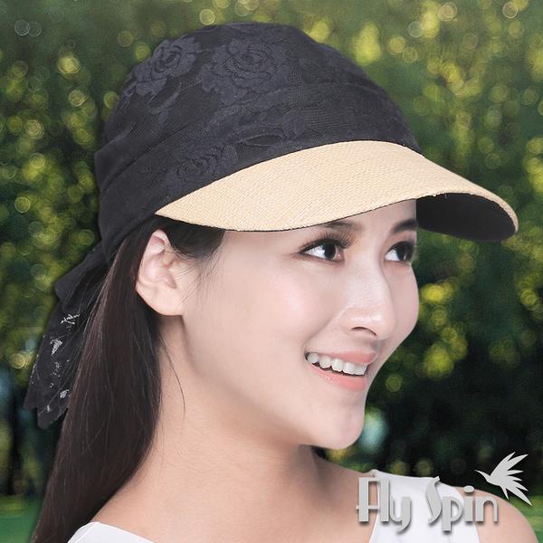 防曬帽子-女款拉菲草編眉檐時尚蕾絲透氣半頂式遮陽休閒空心帽13SS-V075 FLY SPIN
