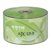 ◆0元運費+贈CD棉套◆錸德 Ritek 空白光碟片 環保綠葉 CD-R 700MB/52X 600P裸裝 (50P裸裝X12)
