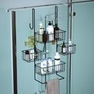 北歐創意浴室置物架家用門后掛架酒店賓館淋浴房免打孔掛籃收納架 【科炫3c】