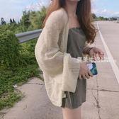 針織外套 港味復古chic風慵懶寬鬆薄款長袖針織衫夏季百搭顯瘦防曬衣開衫女·夏茉生活