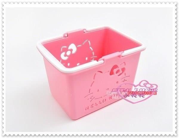 小花花日本精品♥ Hello Kitty 日本製 迷你置物籃 收納小提籃 名片盒 粉色大臉56843002