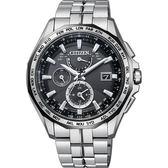 【限量款 CITIZEN】星辰 光動能電波鈦金屬腕錶-黑x銀/42mm AT9096-57E