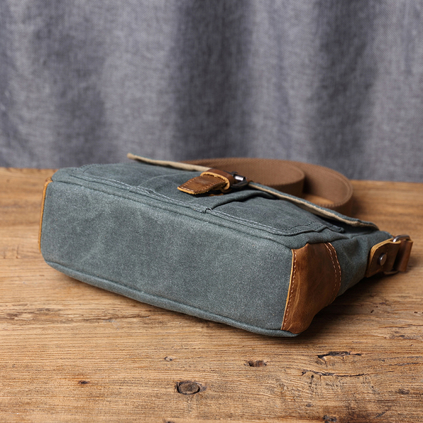 【Solomon 原創設計皮件】機能防水帆布斜背包 書包旅行小包 耐用休閒皮革帆布包