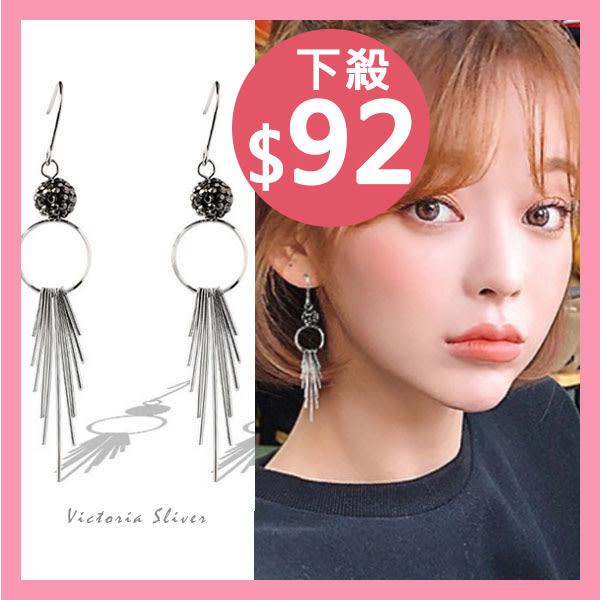 925純銀針  韓國優雅氣質 時尚流蘇 耳環-維多利亞181055