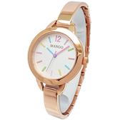 【台南 時代鐘錶 MANGO】MA6693L-80R 馬卡龍撞色 手鐲造型 鋼錶帶女錶 玫瑰金/白 30mm