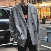 西裝男 韓國風chic秋季新款氣質格子小西裝外套男生oversize寬松休閑西服 布衣潮人