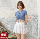 泳衣來福,C998泳衣心怡露肚三件式泳衣小裙游泳衣泳裝M-XL正品,售價950元