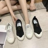 2020夏季新款交叉彈力小白鞋女 平底套腳懶人樂福鞋 網紅街拍一腳蹬 萬聖節狂歡價