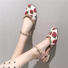 夏新款ins平底包頭涼鞋女仙女風百搭菠蘿低跟粗跟鉚釘羅馬鞋 韓國時尚週