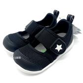 《7+1童鞋》寶寶 日本月星 MOONSTAR 透氣網布 機能涼鞋 運動涼鞋 學步涼鞋 D450 黑色