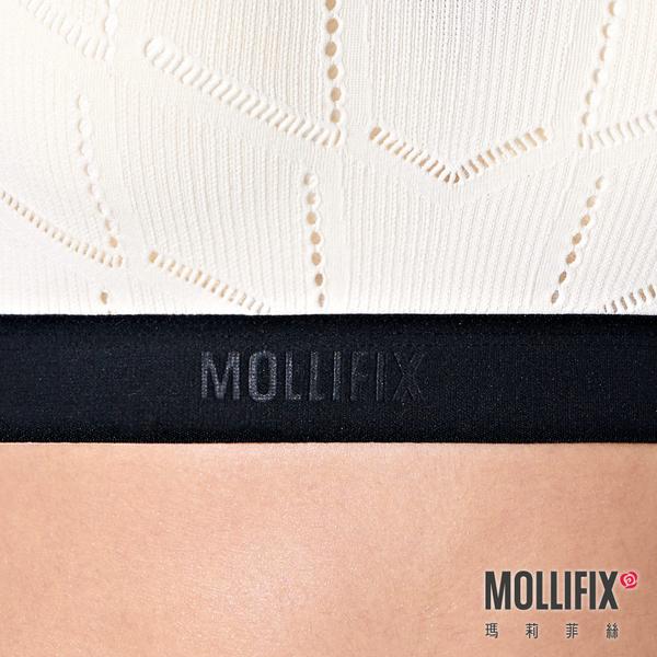 Mollifix 瑪莉菲絲 A++交錯美背LOGO織帶舒心BRA (白+黑)