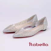 itabella.水鑽簍空尖頭低跟鞋(9206-88銀色)