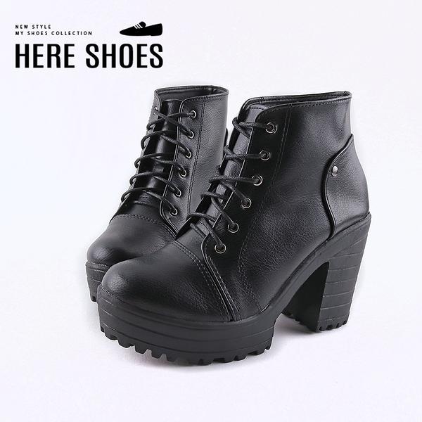[Here Shoes] 前3.5後9.5CM短靴 MIT台灣製 率性百搭 筒高10CM皮革綁帶圓頭粗跟靴-KG7781