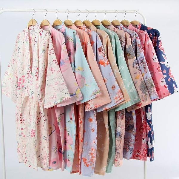 和服 夏薄款純棉紗布睡袍情侶日式男和服浴衣全棉睡衣開衫長睡裙汗蒸服