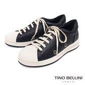 Tino Bellini 真皮拼接潮流圓沖孔厚底綁帶休閒鞋 _ 黑 B83279