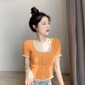2020年新款夏季橘色蕾絲短袖t恤短款甜美bm晚晚風方領法式上衣女