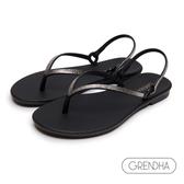 GRENDHA 晶鑽人字帶時尚夾腳涼鞋-黑色/銀
