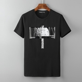 短袖T恤-精梳棉圓領月球圖案男上衣73mj9【巴黎精品】