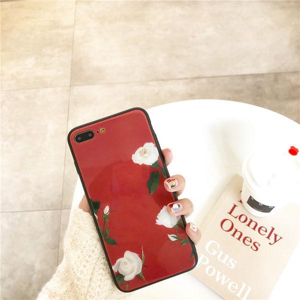 【SZ25】iphone 7/8 plus 手機殼 酒紅複古玫瑰花玻璃殼 i8 plus手機殼 iphone6手機殼 iphone X 手機殼
