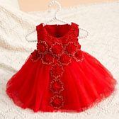 兒童禮服 新款女童禮服周歲百天滿月連衣裙公主裙生日花童婚禮婚紗裙【快速出貨好康八折】