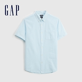 Gap男裝 通勤純棉輕薄短袖襯衫 695864-湖綠條紋