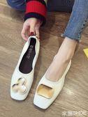 平底鞋 單鞋女軟皮淺口平底復古奶奶鞋正韓百搭方頭款皮鞋 米蘭shoe
