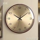 歐式輕奢石英鐘表客廳家用實木質掛鐘現代臥室超靜音時鐘個性時尚NMS【蘿莉新品】