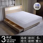 IHouse-山田日式插座燈光房間三件(床墊+床頭+收納床底)雙大6尺胡桃