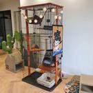 貓別墅 日系貓籠子 貓房 室內家用三層四層實木木框貓咪圍欄 快速出貨