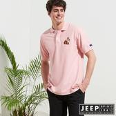 【JEEP】網路限定 簡約狐狸圖騰舒適短袖POLO衫-粉