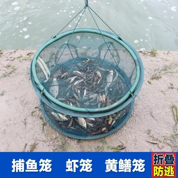 魚網蝦籠抓魚籠折疊漁網捕魚網龍蝦網捕蝦籠撲魚手拋網小魚網圓形 LX 【618 大促】
