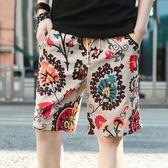 夏季純棉亞麻大碼速乾男士沙灘褲 男式5五分褲大褲衩休閒短褲  良品鋪子