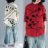 棉麻 點點幾何印花圓領襯衫上衣-大尺碼 獨具衣格