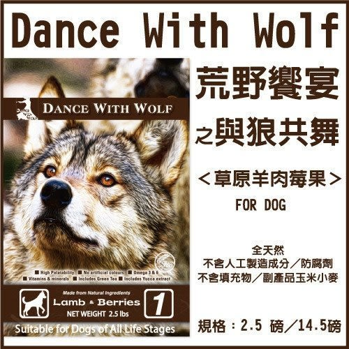 *KING WANG*【2包組】荒野饗宴 與狼共舞‧無穀狗糧-草原羊肉莓果500g【分裝體驗包(真空包)】
