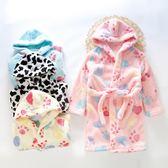 兒童法蘭絨睡袍中大童珊瑚絨睡衣男童女童秋冬季家居浴袍寶寶睡袍