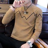 2019秋季男士長袖T恤休閒潮流圓領體恤大學T男裝套頭男生外套秋衣