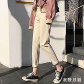 牛仔褲女2019新款寬鬆高腰顯瘦學生夏季韓版休閒闊腿褲 QW5267【衣好月圓】